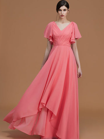 products/watermelon-bridesmaid-dresses-long-chiffon-bridesmaid-dress-bridesmaid-dress-with-sleeves-bd00258-3.jpg