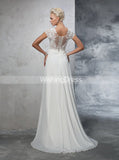 Wedding Dress with Short Sleeves,Chiffon Wedding Dress,Beach Wedding Dress,WD00272