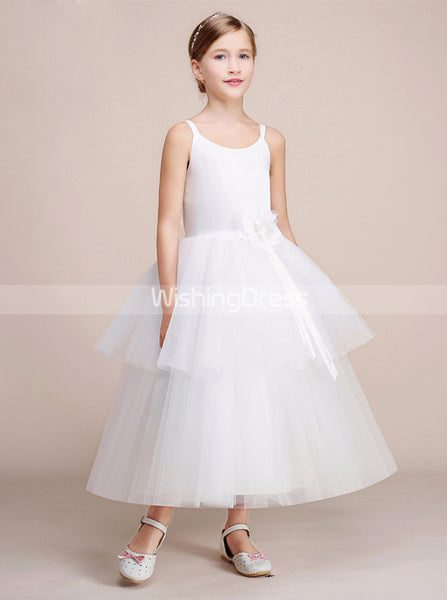 White Ball Gown Junior Bridesmaid Dress,Tulle Tea Length Flower Girl Dress,JB00029