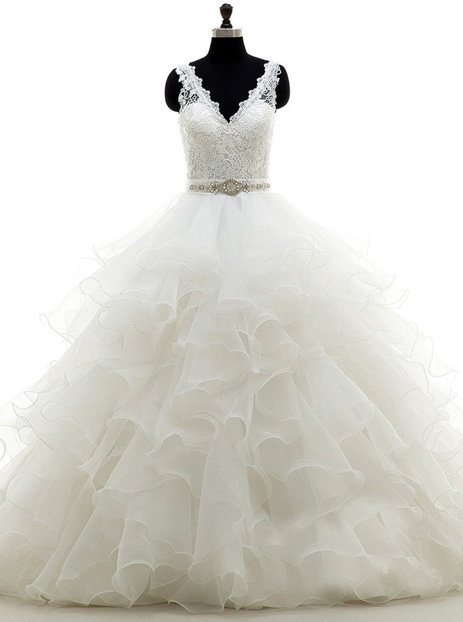 White Ball Gown Ruffled Organza Wedding Dress Backless