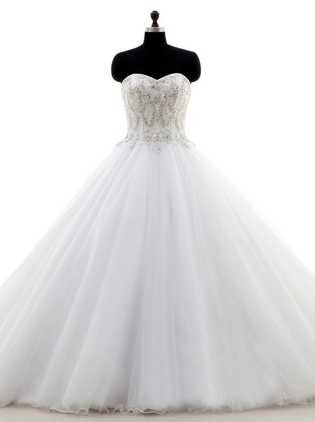 White Ball Gown Wedding Dress,Tulle Sweetheart Wedding Dress,Classic Bridal Gown,WD00036