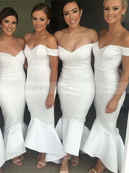 White Bridesmaid Dress,Off the Shoulder Bridesmaid Dress,Trumpet Bridesmaid Dress,BD00104