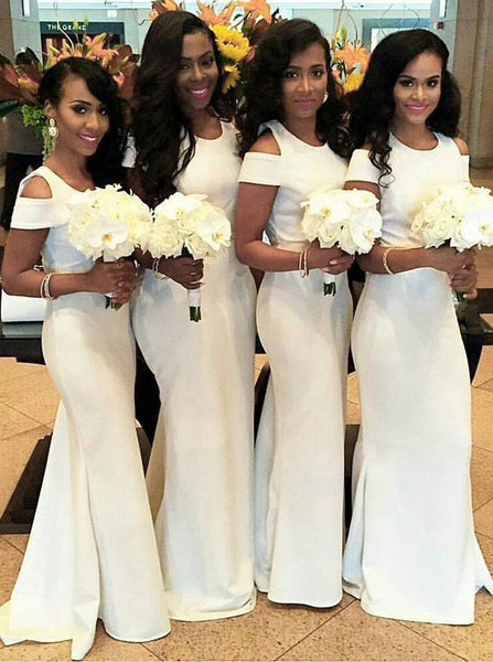 White Bridesmaid Dress,Satin Bridesmaid Dress,Mermaid Bridesmaid Dress,BD00034