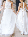 White Bridesmaid Dress,Tulle Bridesmaid Dress,Bridesmaid Dress with Sash,BD00019