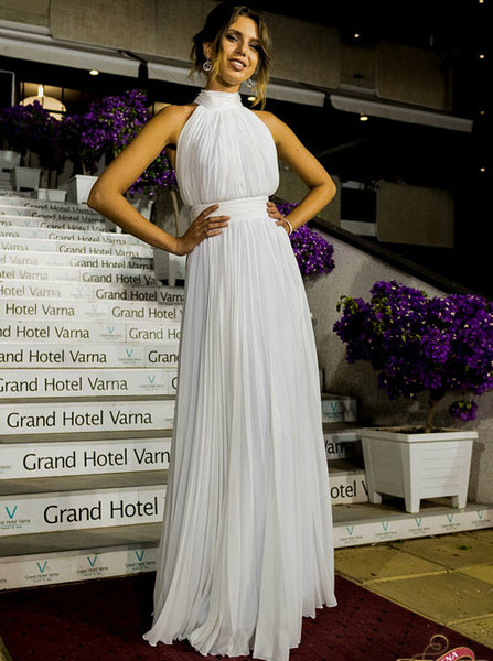 White Chiffon Long Prom Dress,Halter Elegant Bridesmaid Dress,Simple Evening Dress PD00137