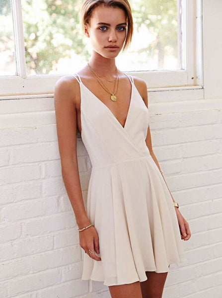 White Cocktail Dresses,Chiffon Cocktail Dress,Strappy Cocktail Dress,CD00044