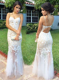 White Column Floor Length Prom Dress,See Through Evening Dress,Lace Tulle Evening Dress PD00173