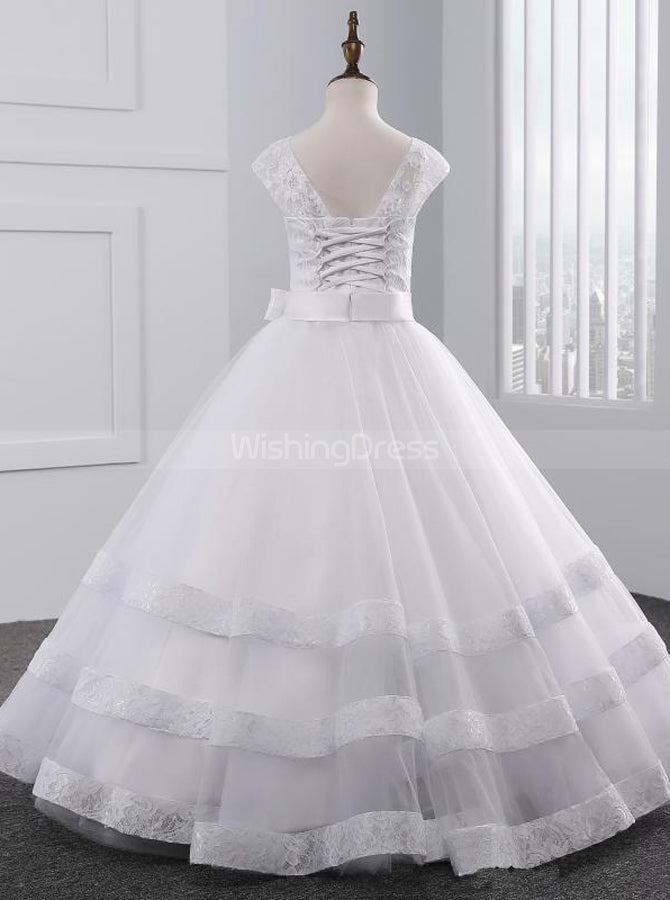 28ba8234c White First Communion Dresses,Tulle Princess Flower Girl Dress,FD00094