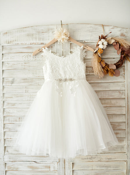 White Flower Girl Dress,Lovely Flower Girl Dress,Tulle Flower Girl Dress,FD00063