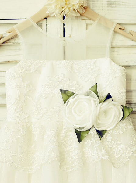 White Flower Girl Dress with Tulle Skirt,Cute Girl Party Dress,FD00113