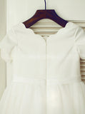 White Flower Girl Dresses,Flower Girl Dress with Short Sleeves,FD00062