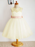 White Flower Girl Dresses,Knee Length Flower Girl Dress,FD00020