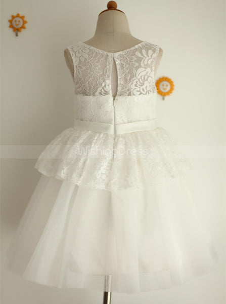 White Flower Girl Dresses,Lace Tulle Flower Girl Dress,Ball Gown Flower Girl Dress,FD00095