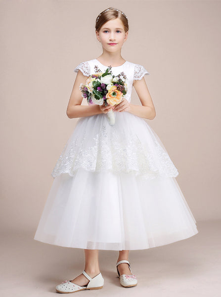 White Flower Girl Dresses,Princess Junior Bridesmaid Dress,JB00038