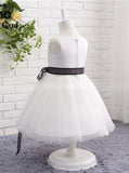 White Flower Girl Dresses,Short Flower Girl Dress,Flower Girl Dress with Sash,FD00046