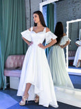 White High Low Prom Dresses,Simple Graduation Dress,PD00398