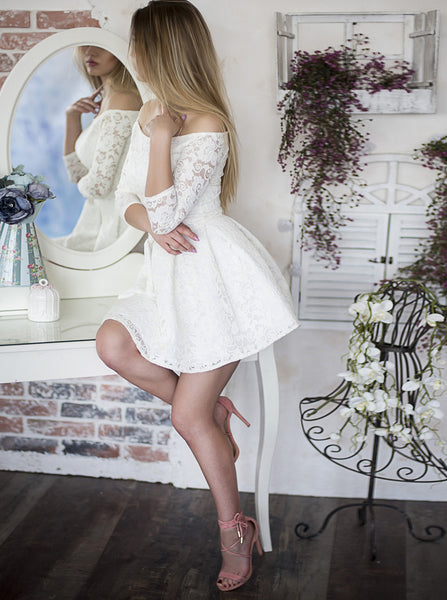 White Homecoming Dresses,Homecoming Dress with Sleeves,Short Homecoming Dress,HC00162
