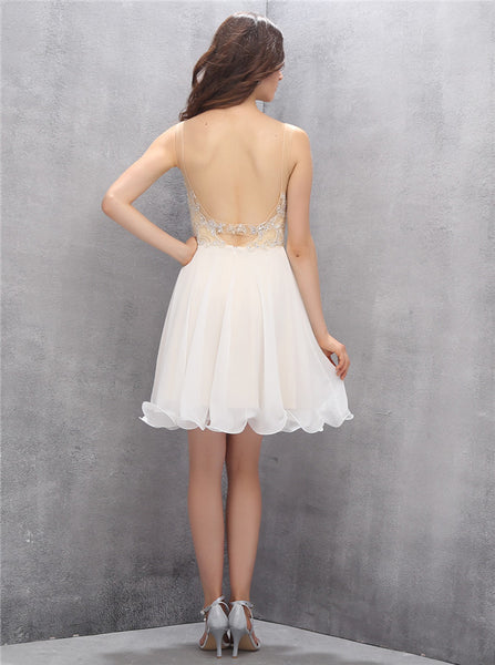 White Homecoming Dresses,Short Homecoming Dress,Homecoming Dress for Teens,HC00010