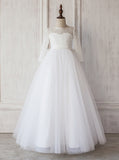 White Junior Bridesmaid Dress with Sleeves,Long Flower Girl Dress,JB00018
