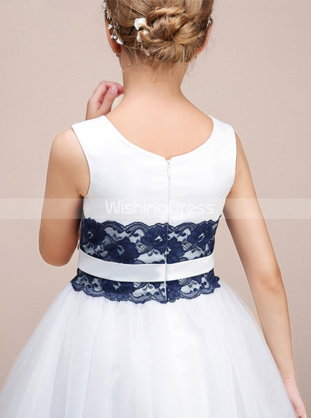 White Junior Bridesmaid Dresses,Knee Length Junior Bridesmaid Dress,Flower Girl Dress,JB00004