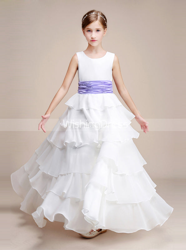 ca7e1f243 White Junior Bridesmaid Dresses,Layered Chiffon Junior Bridesmaid Dress,Flower  Girl Dress,JB00010