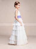 White Junior Bridesmaid Dresses,Layered Chiffon Junior Bridesmaid Dress,Flower Girl Dress,JB00010