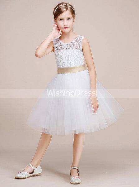 White Junior Bridesmaid Dresses,Short Flower Girl Dress,Girl Birthday Dress,BD00014