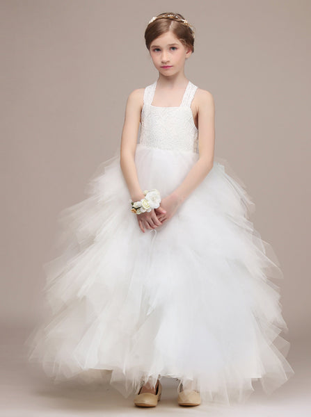 White Junior Bridesmaid Dresses,Tulle Junior Party Dress,Luxury Junior Bridesmaid Dress,JB00035