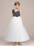 White Junior Bridesmaid Dresses,Tulle Long Junior Bridesmaid Dress,JB00012