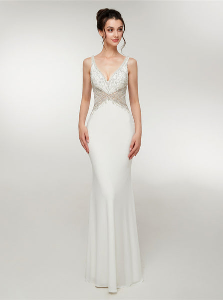 White Mermaid Evening Dresses,Jersey Long Prom Dresses,PD00386