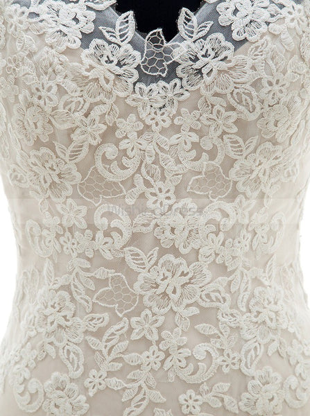 White Mermaid Wedding Dresses,Lace Wedding Gown,Trendy Bridal Dresses,WD00032