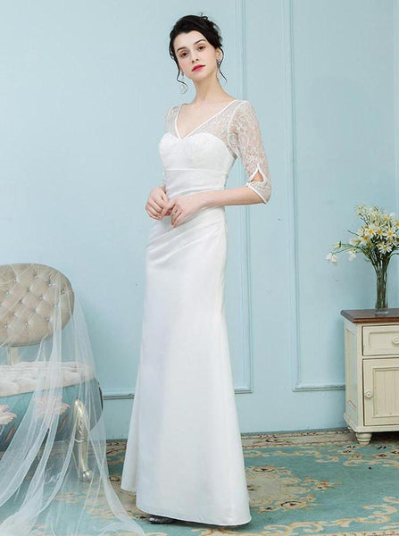 White Mother of the Bride Dresses,Mother Dress with Sleeves,Fitted Mother of the Bride Dress,MD00016