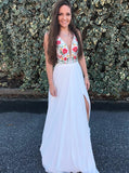 White Prom Dresses,Embroidered Prom Dress,Long Prom Dress,Prom Dress with Slit,PD00298