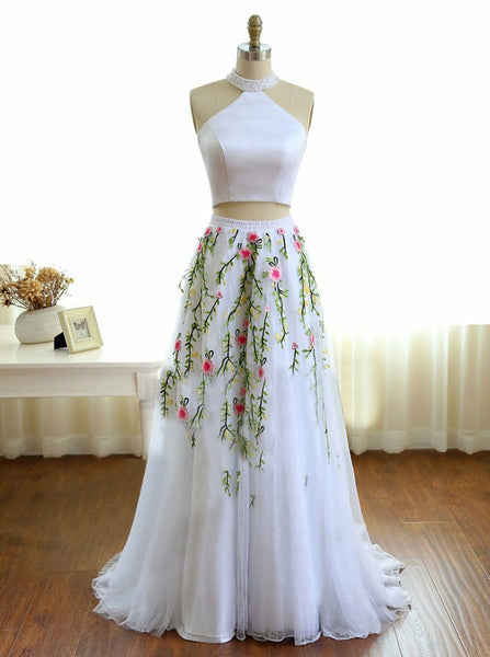 White Prom Dresses,Two Piece Prom Dress,Prom Dress for Teens,Floral Prom Dress,PD00218
