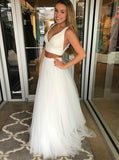 White Prom Dresses,Two Piece Prom Dress,Tulle Girls Graduation Dress,PD00299