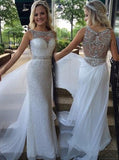 White Sequined Prom Dress,Fitted Long Prom Dress,Elegant Evening Dress PD00027