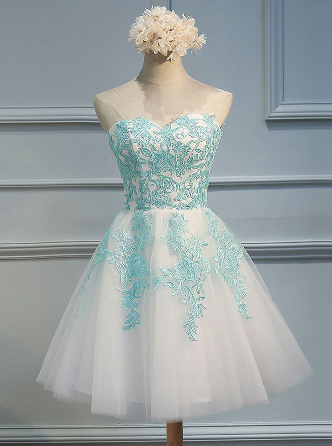 53efdeb66 White Sweet 16 Dresses,Strapless Sweet 16 Dress,Short Sweet 16 Dress,Cute