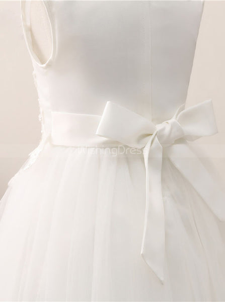 White Tea Length Flower Girl Dress,Cute Flower Girl Dress,FD00045