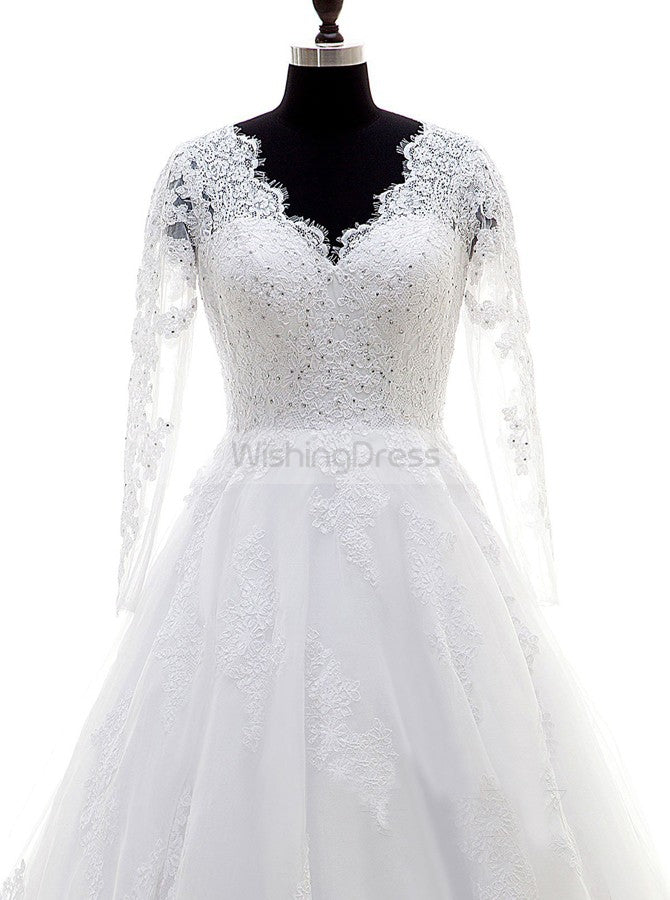 White Wedding Dress,Plus Size Bridal Dress,Wedding Dresses with  Sleeves,Lace Bridal Gown,WD00228