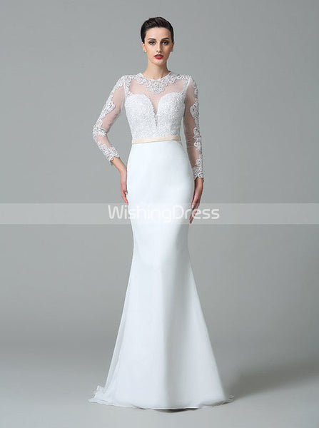White Wedding Dress,Wedding Dress with Sleeves,Mermaid Bridal Dress,WD00273