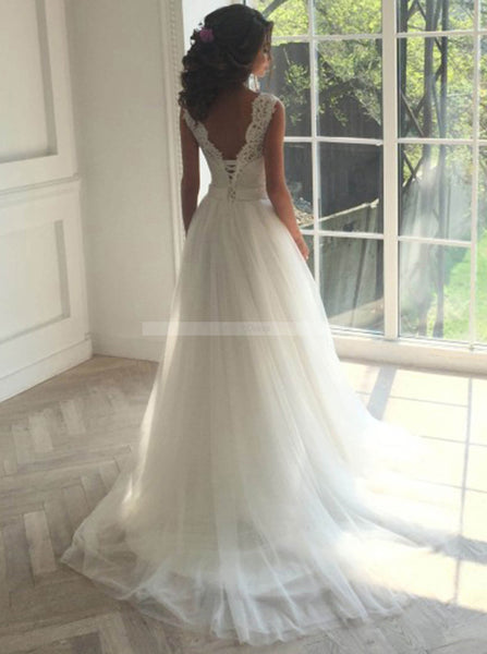 White Wedding Dresses,Ball Gown Wedding Dress,Tulle Bridal Dress,Modest Wedding Gown,WD00118