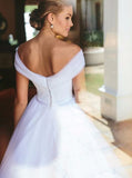 White Wedding Dresses,Tulle Off the Shoulder Wedding Dress,Princess Wedding Dress,WD00057