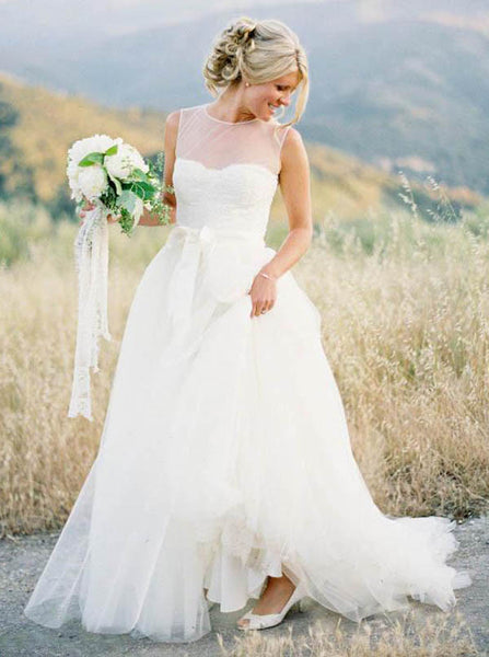 White Wedding Dresses,Tulle Wedding Dress,Simple Wedding Dress,Rustic Wedding Dress,WD00171