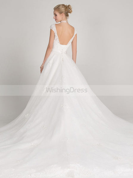 White Wedding Dresses,Tulle Wedding Gown,Romantic Bridal Gown,V Neck Wedding Dress,WD00014