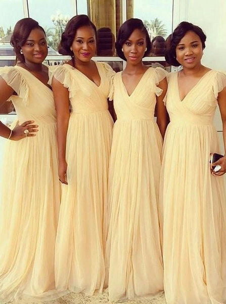 Yellow Bridesmaid Dress,Tulle Bridesmaid Dress,Long Bridesmaid Dress,BD00176
