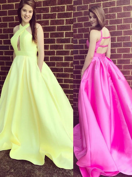 Yellow Prom Dresses,Prom Dress with Pockets,Prom Dress with Train,Modern Prom Dress,PD00214