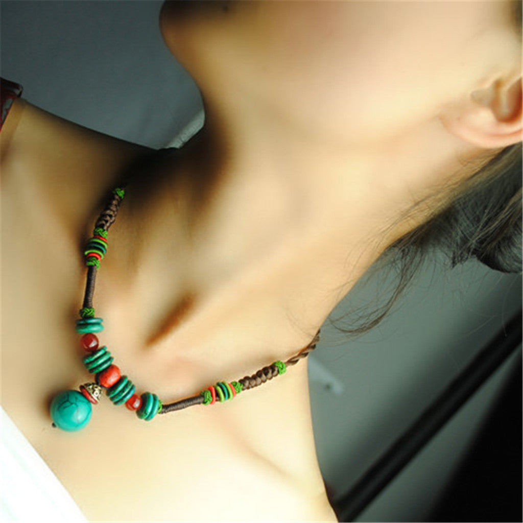 OneMe Green Story Beaded Vintage Choker
