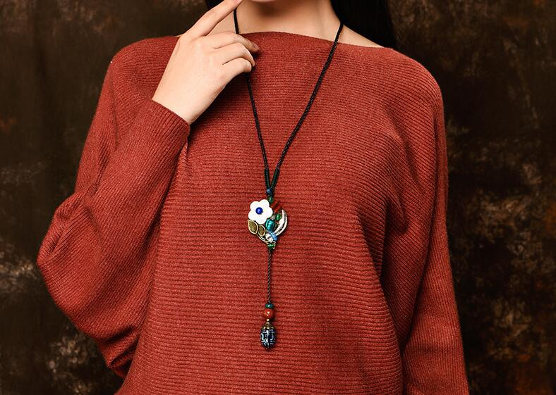 OneMe Floral Fish Handmade Silver Sweater Necklace