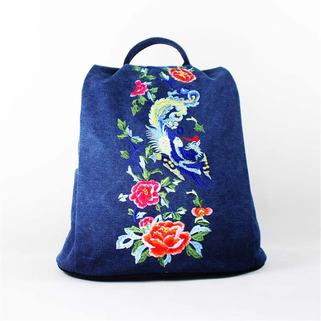OneMe Embroidered Carnation Handmade Canvas Backpack