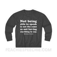 Load image into Gallery viewer, French Terry Sweatshirt | Crossely Quote - L / Charcoal Heather - Sweatshirt French Terry Sweatshirt | Crossely Quote peachiespeechie.com